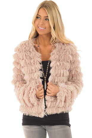 Beige Faux Fur Jacket front close up