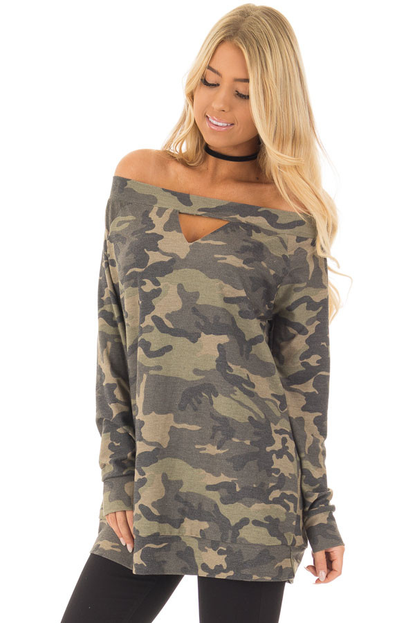 Camouflage Off the Shoulder Top with Cut Out Details front close up