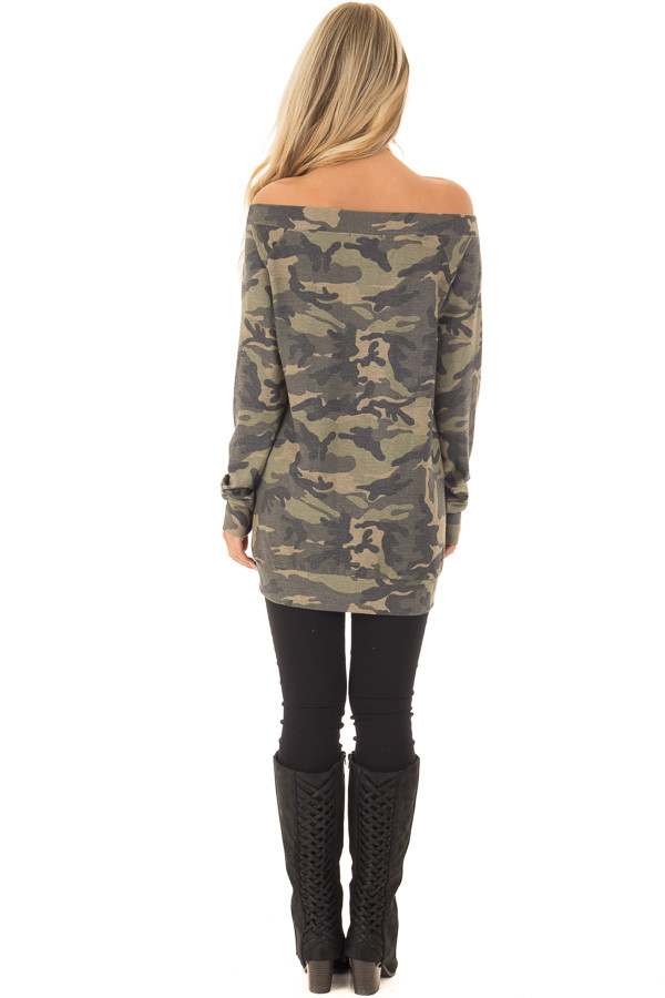 Camouflage Off the Shoulder Top with Cut Out Details back full body