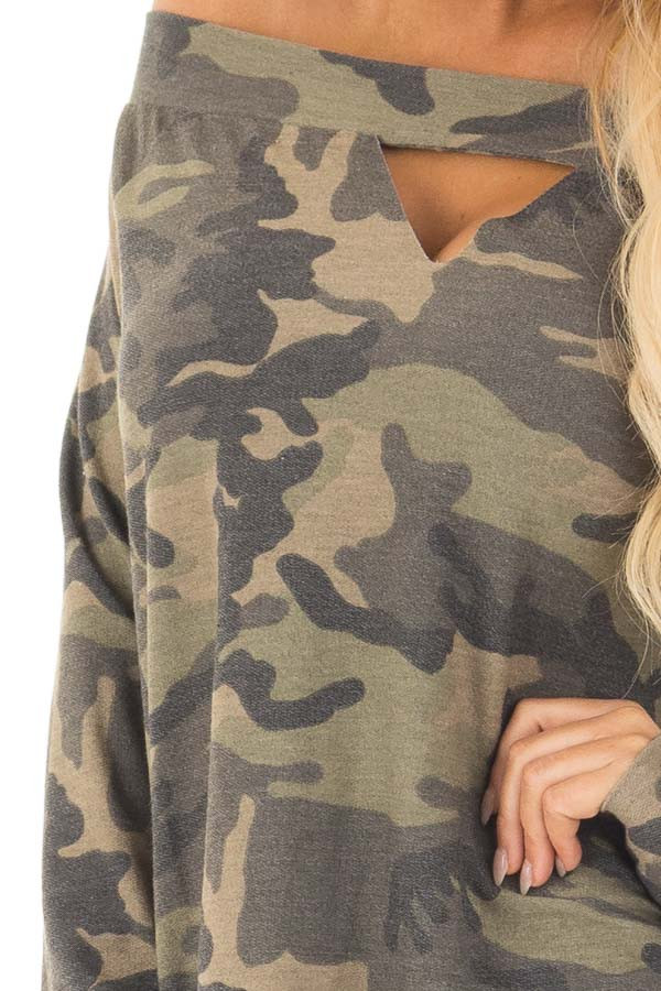 Camouflage Off the Shoulder Top with Cut Out Details detail