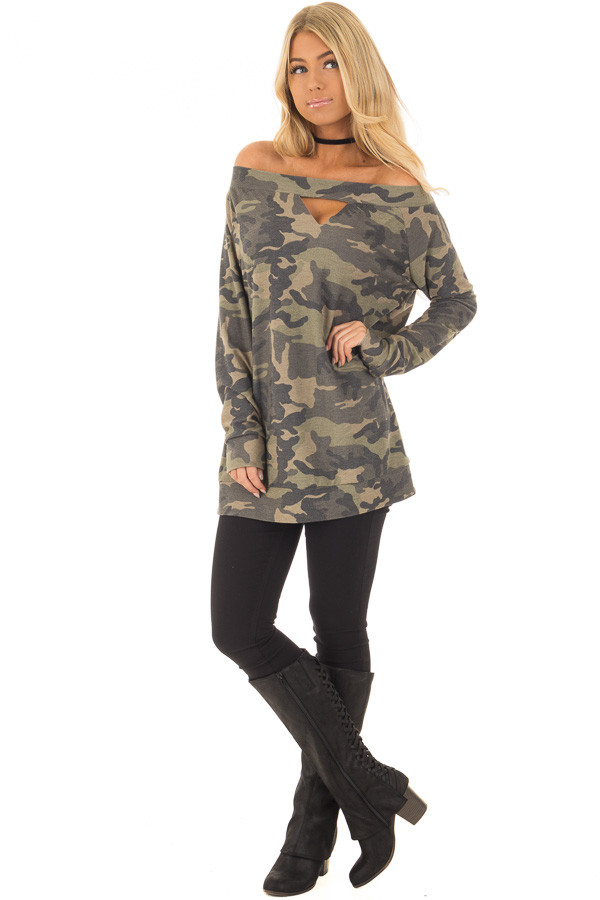 Camouflage Off the Shoulder Top with Cut Out Details front full body