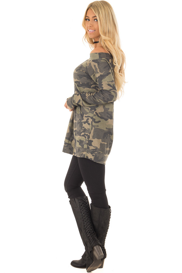 Camouflage Off the Shoulder Top with Cut Out Details side full body