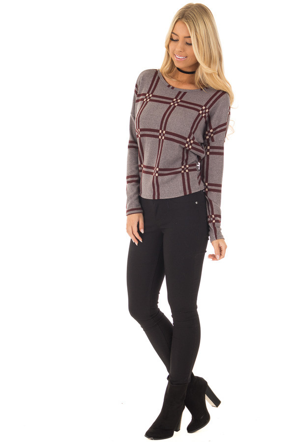 Grey and Burgundy Plaid Twisted Open Back Sweater front full body