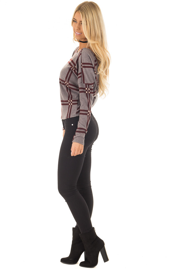 Grey and Burgundy Plaid Twisted Open Back Sweater side full body