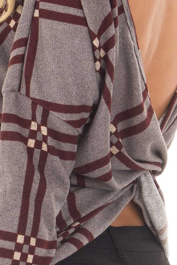 Grey and Burgundy Plaid Twisted Open Back Sweater detail