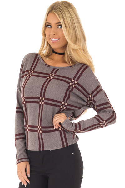 Grey and Burgundy Plaid Twisted Open Back Sweater front close up
