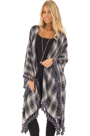 Slate Blue and Tan Plaid Cardigan with Tassel Hemline front close up