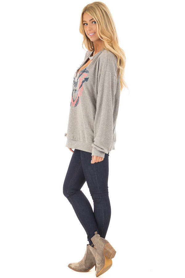 Heather Grey Cut Out V Neck Top with Deer Graphic side full body