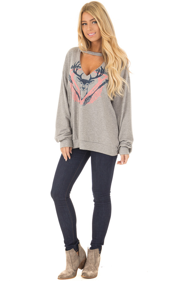 Heather Grey Cut Out V Neck Top with Deer Graphic front full body
