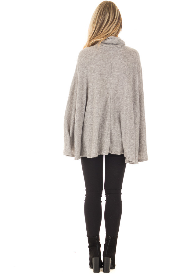 Cloud Grey Turtle Neck Poncho with Arm Holes back full body