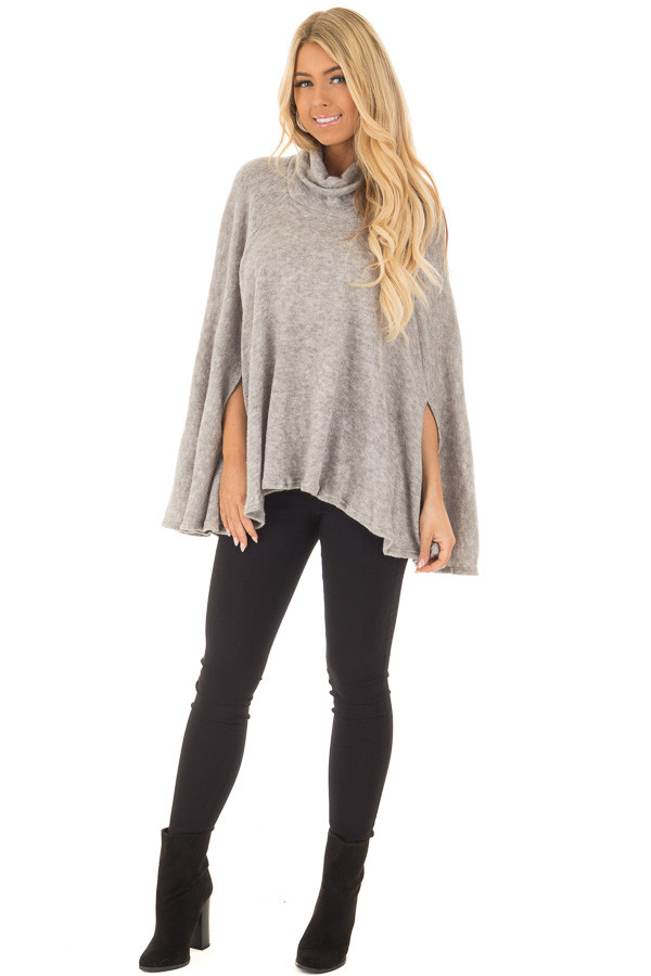 Cloud Grey Turtle Neck Poncho with Arm Holes front full body
