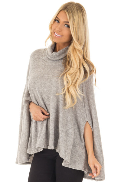 Cloud Grey Turtle Neck Poncho with Arm Holes front close up
