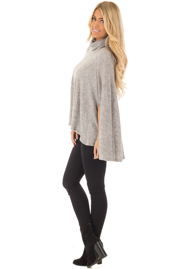 Cloud Grey Turtle Neck Poncho with Arm Holes side full body