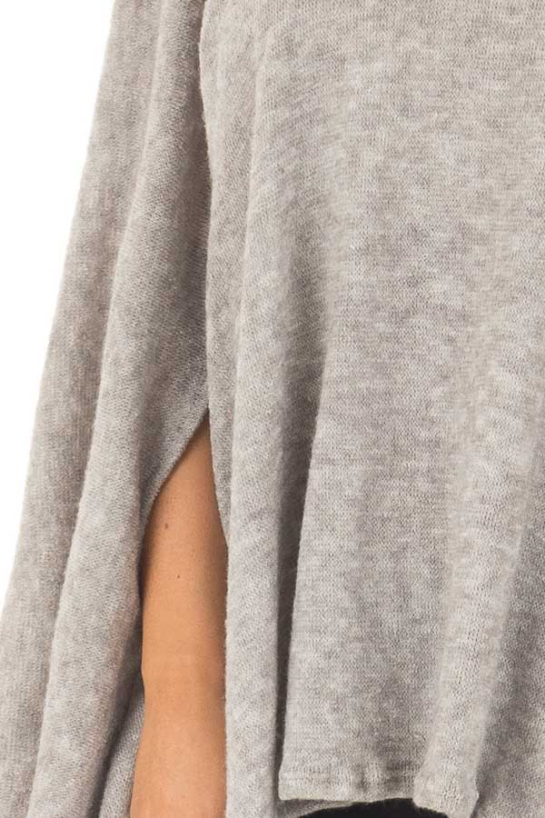 Cloud Grey Turtle Neck Poncho with Arm Holes detail