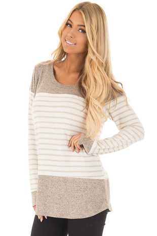 Mocha Long Sleeve Stripe and Solid Color Block Sweater Tunic front close up