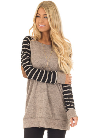 Mocha Two Tone Top with Black Striped Raglan Sleeves front close up