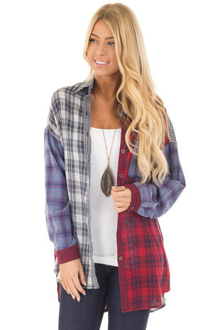 Multicolored Plaid Button Up Shirt with Breast Pocket front close up