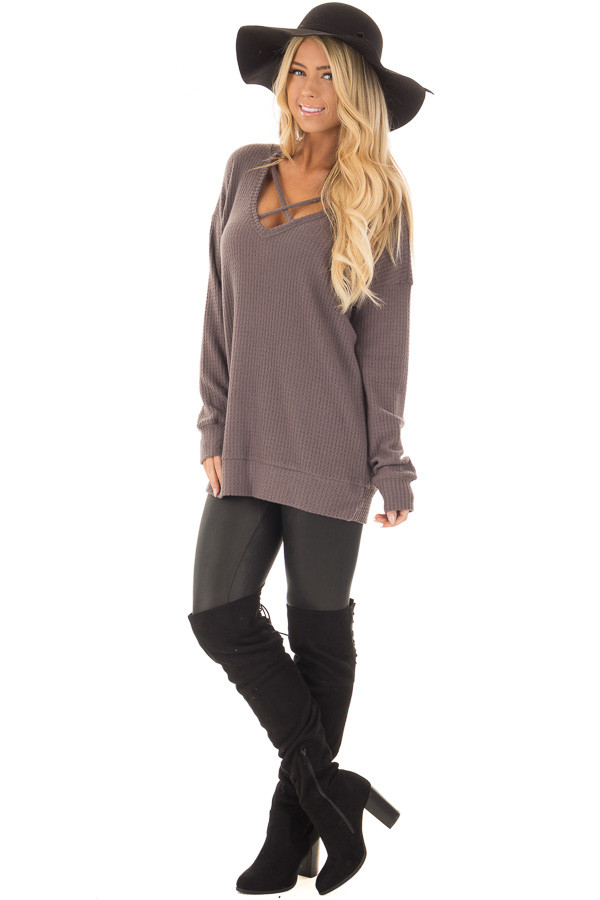 Cocoa Waffle Knit Top with Neckline Details front full body