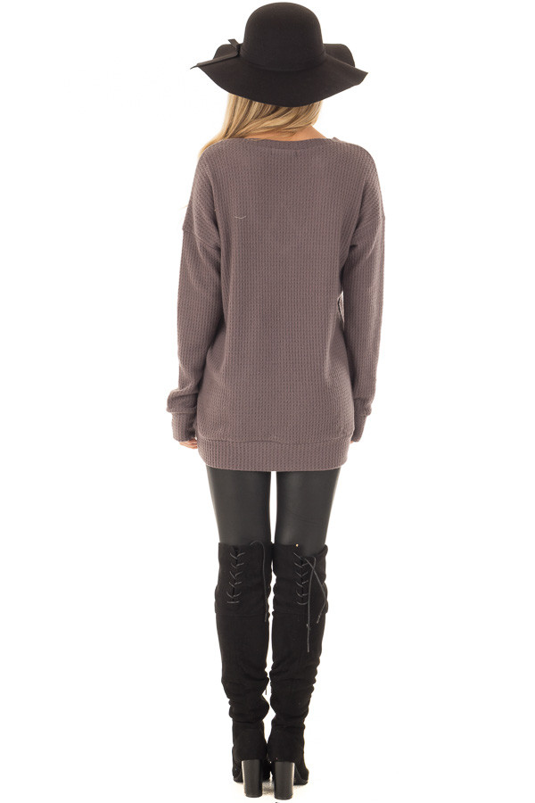 Cocoa Waffle Knit Top with Neckline Details back full body