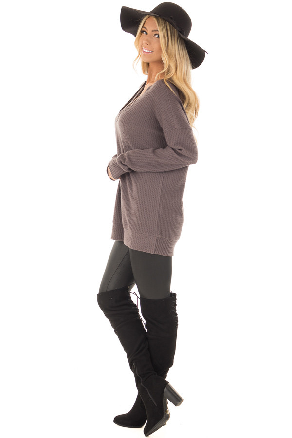 Cocoa Waffle Knit Top with Neckline Details side full body