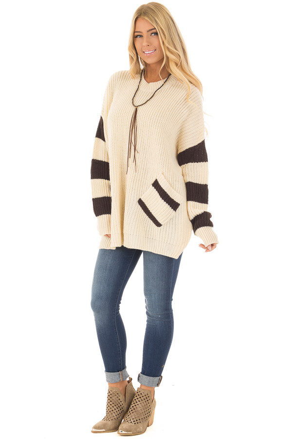 Ivory Oversized Sweater with Front Pockets and Stripe Detail front full body
