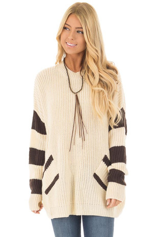 Ivory Oversized Sweater with Front Pockets and Stripe Detail front close up