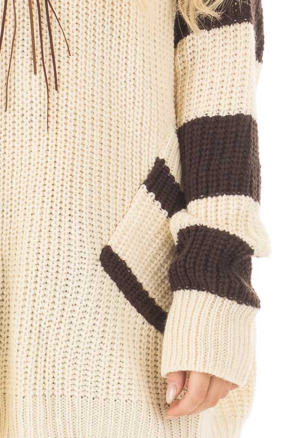 Ivory Oversized Sweater with Front Pockets and Stripe Detail detail