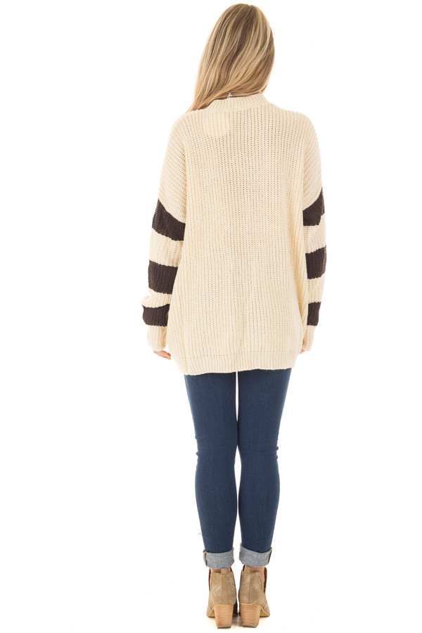 Ivory Oversized Sweater with Front Pockets and Stripe Detail back full body