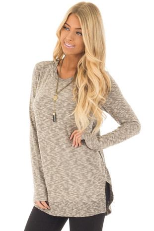 Taupe Two Tone Top with Ribbed Knit Contrast front close up