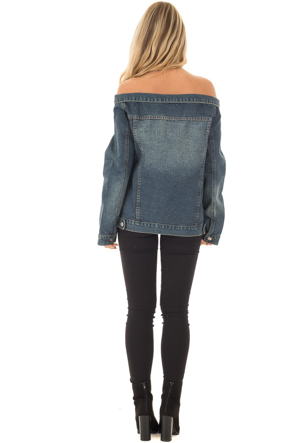 Off the Shoulder Denim Button Up Jacket with Pockets back full body