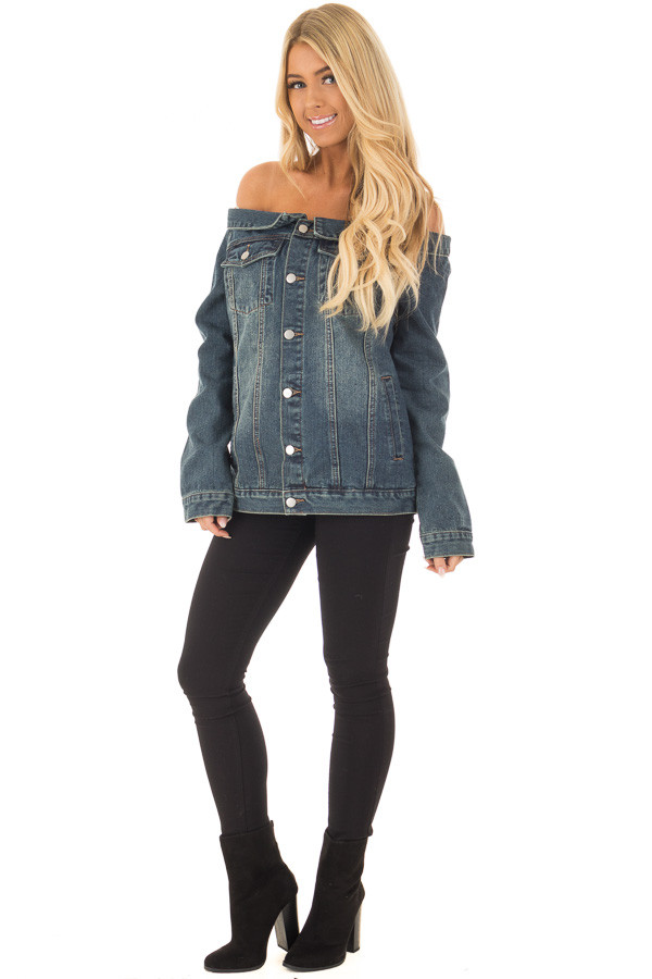 Off the Shoulder Denim Button Up Jacket with Pockets front full body