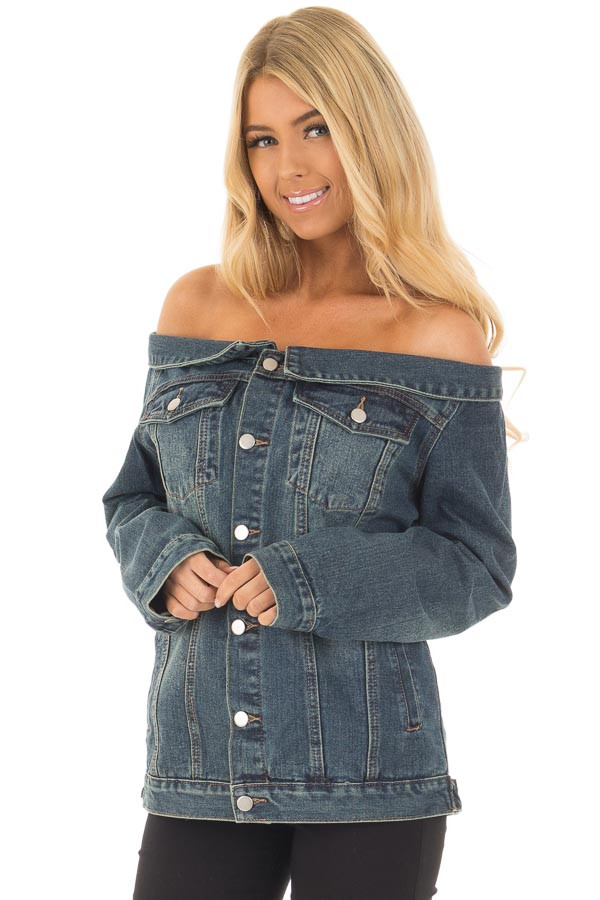 Off the Shoulder Denim Button Up Jacket with Pockets front close up