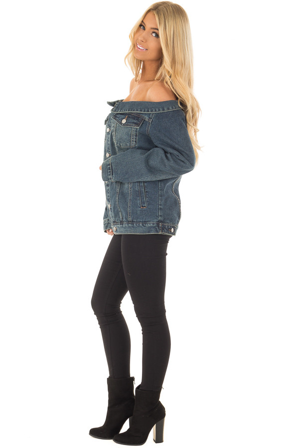 Off the Shoulder Denim Button Up Jacket with Pockets side full body
