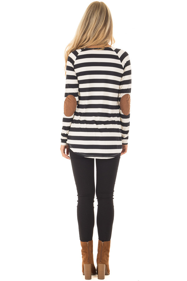 Black and Ivory Soft Striped Top with Faux Suede Elbows back full body