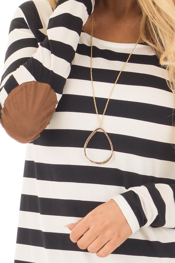 Black and Ivory Soft Striped Top with Faux Suede Elbows detail