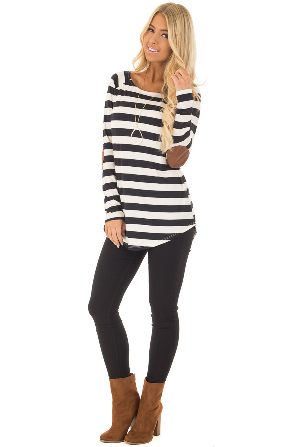 Black and Ivory Soft Striped Top with Faux Suede Elbows front full body