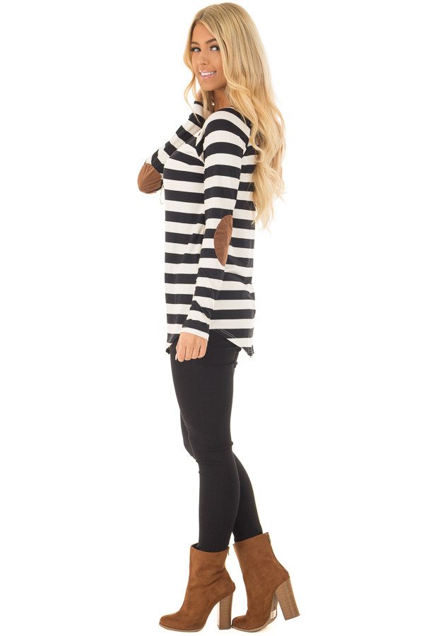Black and Ivory Soft Striped Top with Faux Suede Elbows side full body