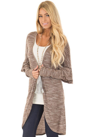 Mocha Two Tone Long Sleeve Cardigan with Ruffle Detail front close up