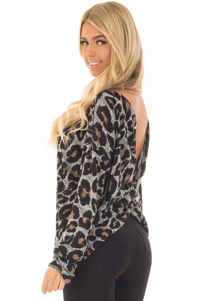 Heather Grey Leopard Print Top with Twist Back Detail back side close up