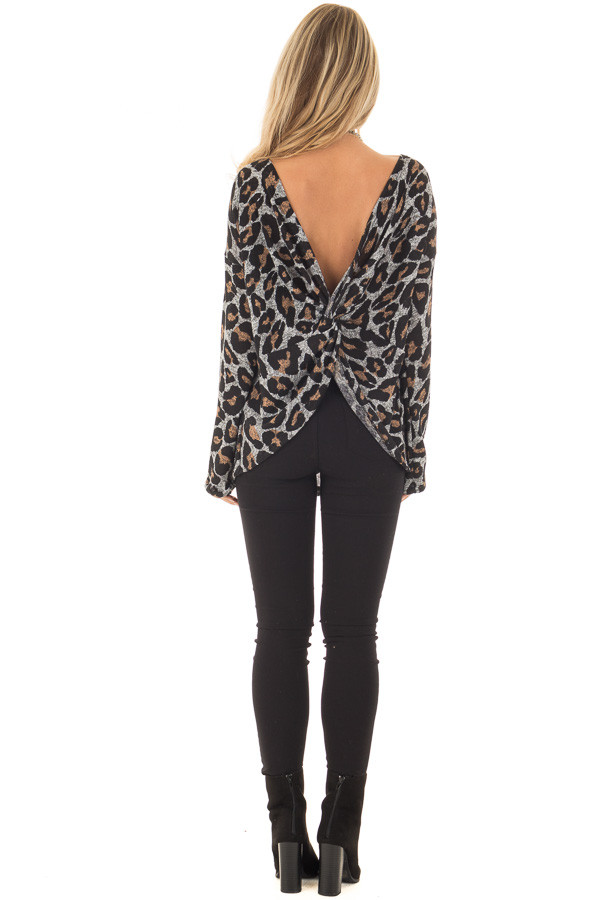 Heather Grey Leopard Print Top with Twist Back Detail back full body