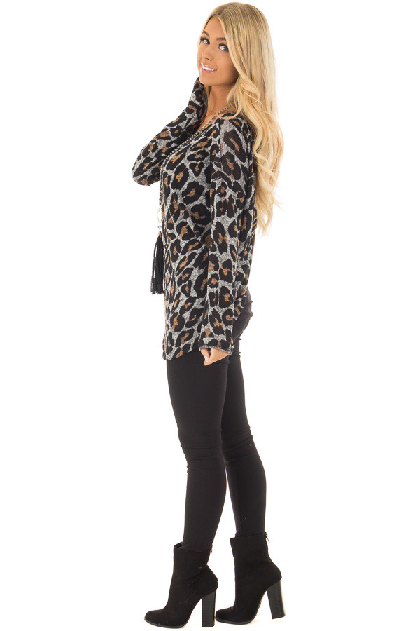 Heather Grey Leopard Print Top with Twist Back Detail side full body