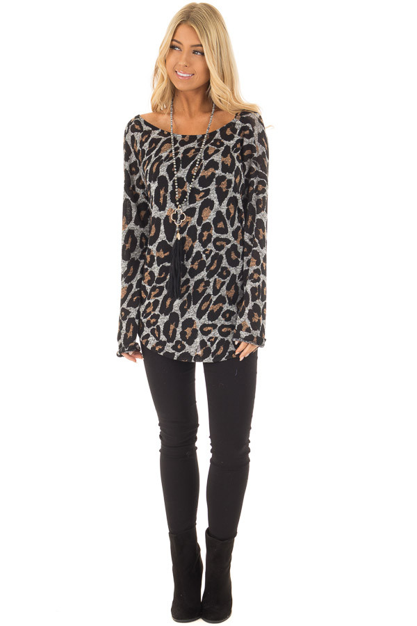 Heather Grey Leopard Print Top with Twist Back Detail front full body