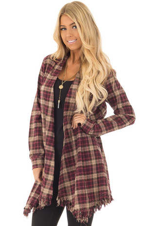 Burgundy Plaid Long Sleeve Cardigan with Fringe Hemline front close up