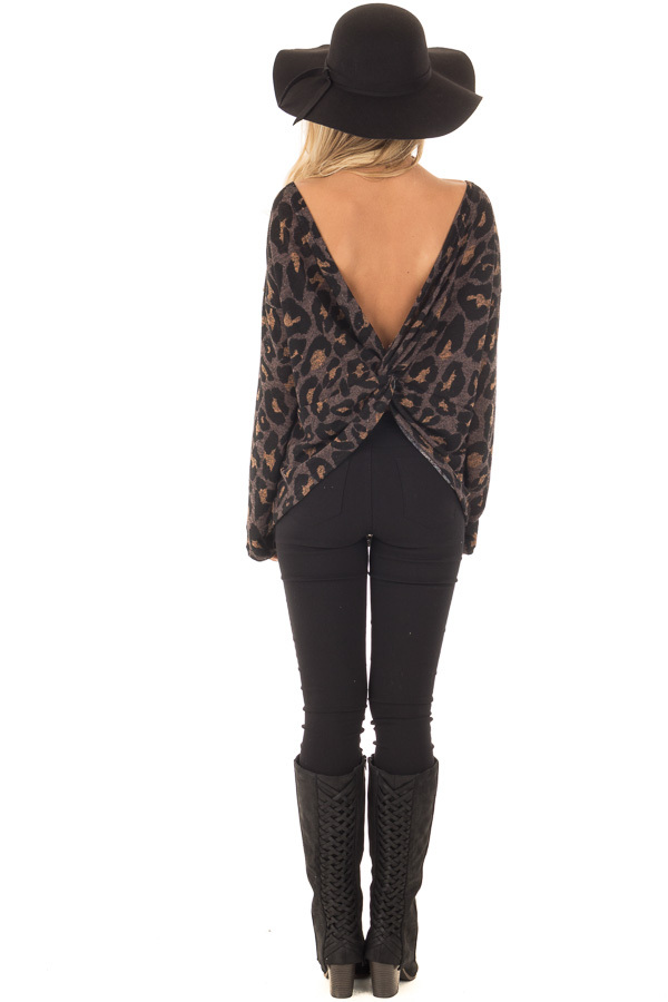 Cocoa Leopard Print Top with Twist Back Detail back full body