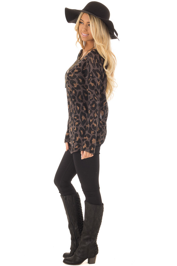 Cocoa Leopard Print Top with Twist Back Detail side full body