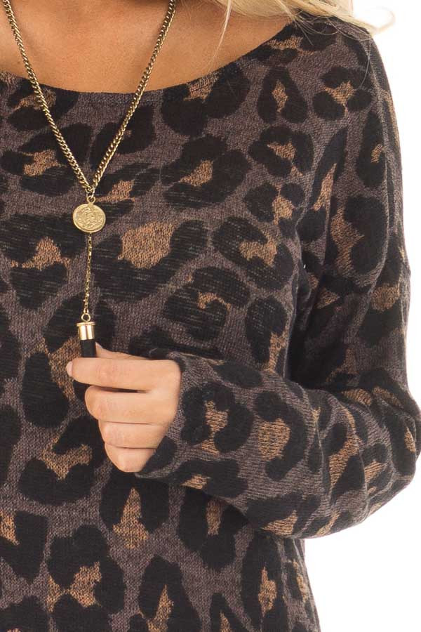 Cocoa Leopard Print Top with Twist Back Detail detail