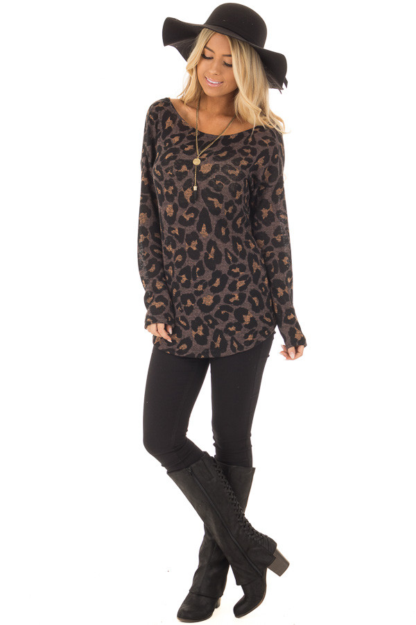 Cocoa Leopard Print Top with Twist Back Detail front full body