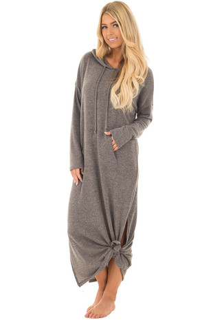 Charcoal Hoodie Maxi with Side Slits and Kangaroo Pocket front full body