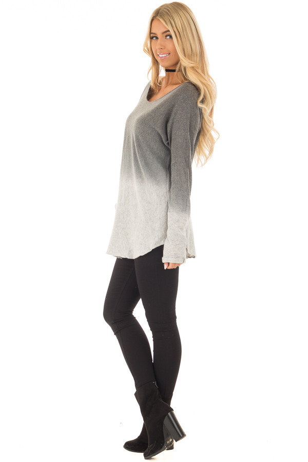 Grey Ombre Long Sleeve Sweater side full body