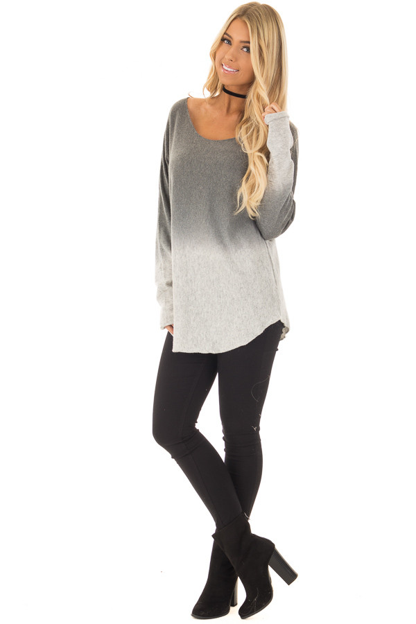 Grey Ombre Long Sleeve Sweater front full body